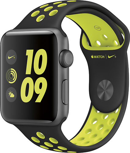 Apple - Geek Squad Certified Refurbished Apple Watch Nike+ 42mm Space Gray Aluminum Case Black/Volt Nike Sport Band - Space Gray Aluminum