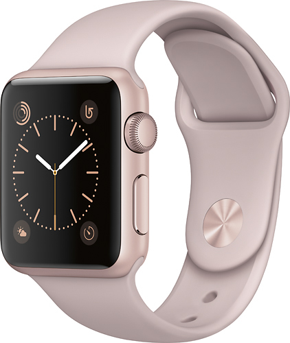 Apple - Geek Squad Certified Refurbished Apple Watch Series 1 38mm Rose Gold Aluminum Case Pink Sand Sport Band - Rose Gold Aluminum