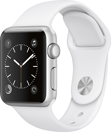 Apple - Geek Squad Certified Refurbished Apple Watch Series 1 38mm Silver Aluminum Case White Sport Band - Silver Aluminum