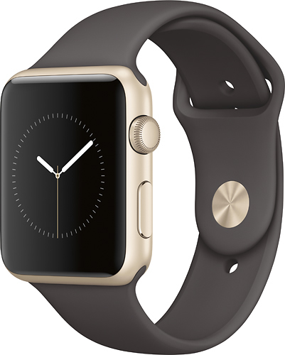 Apple - Geek Squad Certified Refurbished Apple Watch Series 1 42mm Gold Aluminum Case Cocoa Sport Band - Gold Aluminum