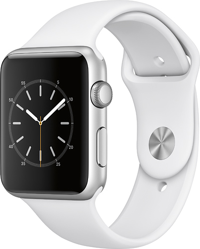 Apple - Geek Squad Certified Refurbished Apple Watch Series 1 42mm Silver Aluminum Case White Sport Band - Silver Aluminum