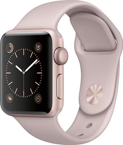Apple - Geek Squad Certified Refurbished Apple Watch Series 2 38mm Rose Gold Aluminum Case Pink Sand Sport Band - Rose Gold Aluminum