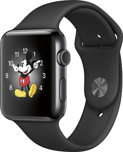 Apple - Geek Squad Certified Refurbished Apple Watch Series 2 42mm Space Black Stainless Steel Case - Space Black Stainless Steel