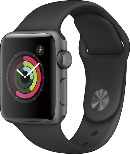 Apple - Geek Squad Certified Refurbished Apple Watch Series 2 42mm Space Gray Aluminum Case Black Sport Band - Space Gray Aluminum