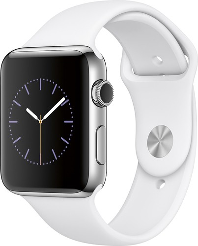 Apple - Geek Squad Certified Refurbished Apple Watch Series 2 42mm Stainless Steel Case White Sport Band - Stainless Steel