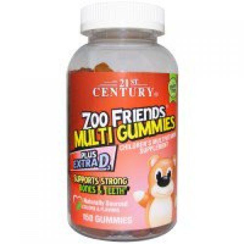 21st Century, 동물원 친구들 종합 비타민, 어린이용 종합 비타민 보조제, 150 구미
