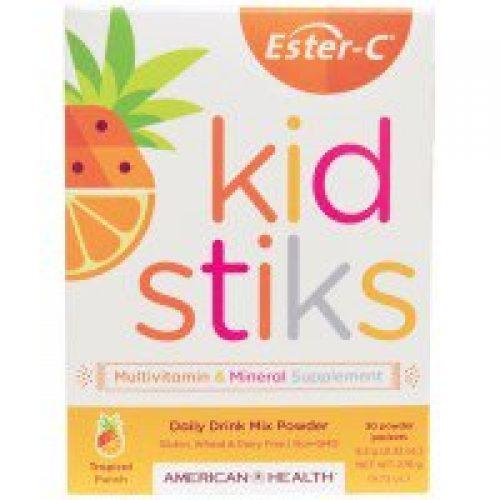 American Health, 에스테르-C 키드스틱, 데일리 드링크 믹스 파우더, 열대 펀치 맛, 30 팩, 각 9.2g (0.32 온스)