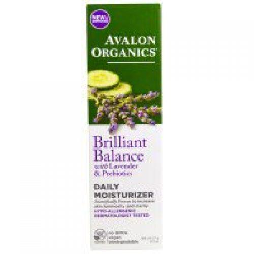 Avalon Organics, 브릴리안트 밸런스, 데일리 모이스처라이저, with 라벤더 & 프리바이오틱, 2 온스 (57 g)