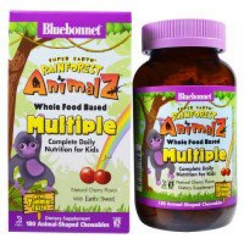 Bluebonnet Nutrition, Super Earth, 열대 우림 애니멀즈, 홀푸드 베이스 멀티플, 천연 체리맛, 180 츄잉 가능