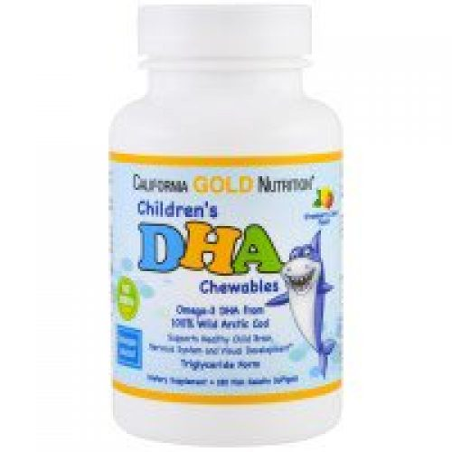 California Gold Nutrition, CGN, Children's DHA Chewables, 100% Wild Arctic Cod, Strawberry-Lemon Flavor, 180 Fish Gelatin Softgels
