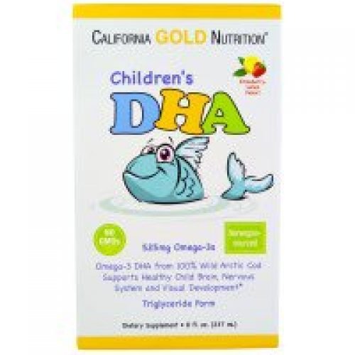 California Gold Nutrition, CGN, 어린이용 DHA, 딸기-레몬 향, 8 fl oz (237 ml)