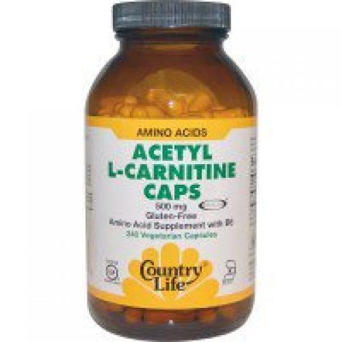 Country Life, 아세틸 L-카르니틴 캡, 500 mg, 240 배지캡