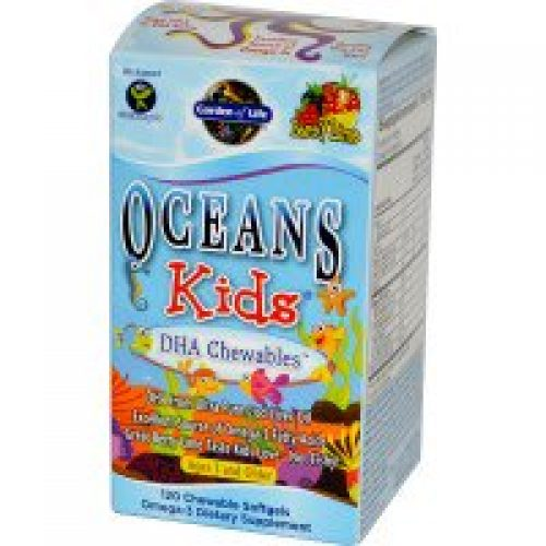 Garden of Life, 오션스 키즈(Oceans Kids), 씹어먹는 DHA, 세살 이상, 베리 라임, 120 추어블 소프트겔