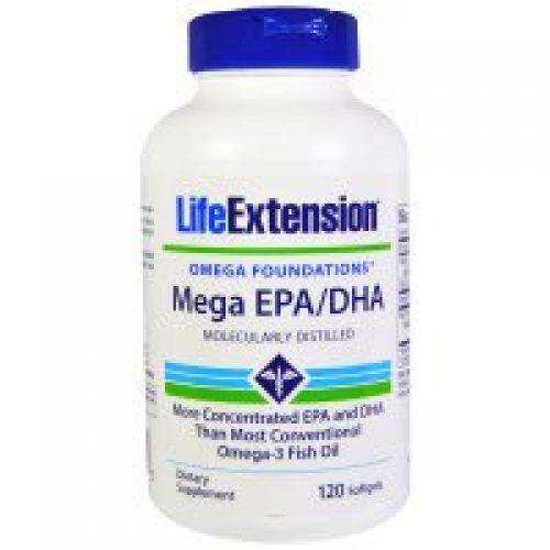 Life Extension, 오메가 파운데이션, 메가 EPA/DHA, 120 소프트젤