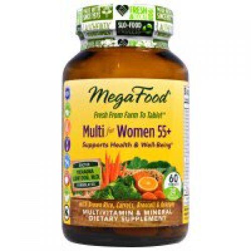 MegaFood, 55 이상 여성, 천연 식품 종합 비타민 & 미네랄 함유, 철 불포함, 60 정