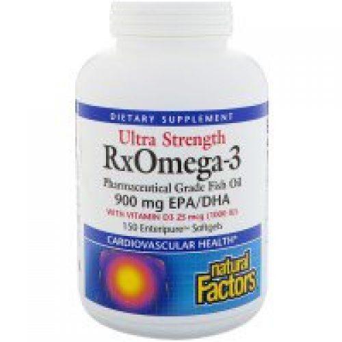 Natural Factors, 울트라 스트렝스, Rx오메가-3 팩터스, 비타민 D3 1000 IU 함유, 150 소프트젤