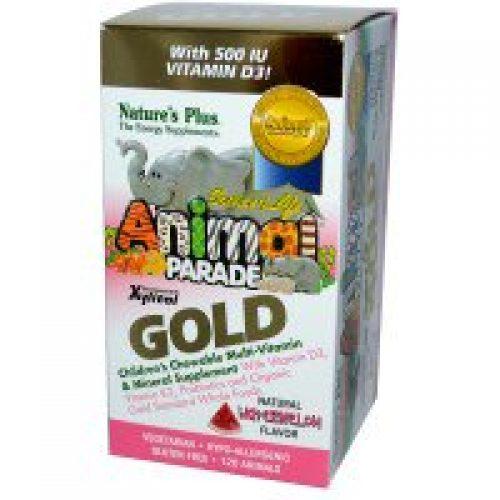 Nature's Plus, 생명의 근원, 동물 퍼레이드 골드, 어린이 용 씹어서 섭취 할 수 있는 좋은 종합 비타민, 미네랄, 수박, 120...