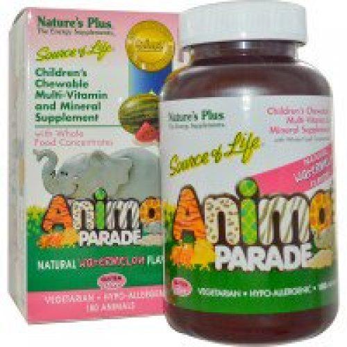 Nature's Plus, 소스 오브 라이프, 애니멀 퍼레이드, 어린이용 씹어 먹는 종합 비타민, 천연 수박 맛, 180 동물 모양 정제