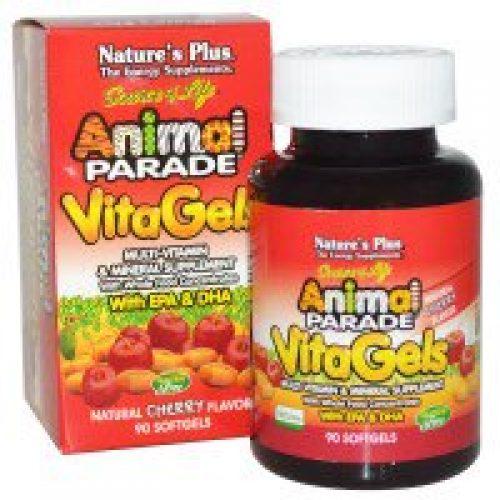 Nature's Plus, 소스 오브 라이프, 동물 행진, 비타젤, 멀티 비타민 & 미네랄 보충제, 천연 체리 맛, 90 소프트젤