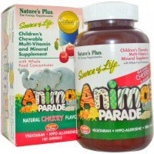 Nature's Plus, Source of Life, 애니멀 퍼레이드, 어린이용 츄어블 멀티-비타민 및 미네랄 보충제, 천연 체리맛, 180개