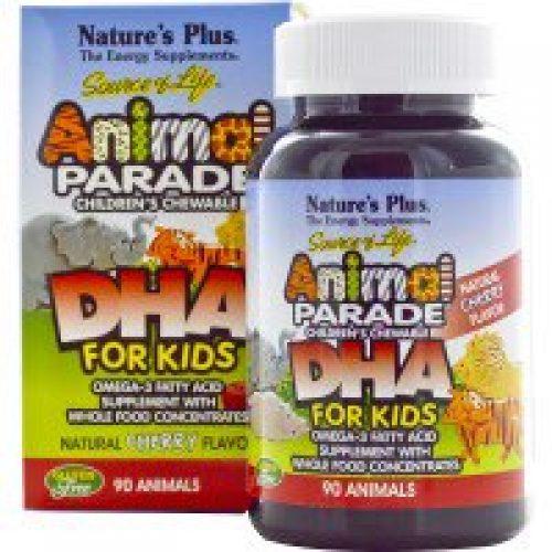 Nature's Plus, Source of Life, 어린이용 DHA, 애니몰 퍼레이드, 어린이가 씹을 수있는 제품, 천연 체리 맛, 90정 애니몰