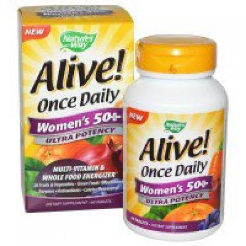 Nature's Way, Alive! 원스 데일리(Once Daily), 우먼즈50+, 울트라 포텐시, 멀티 비타민 & 훌푸드 에너자이저, 60 타블렛