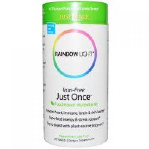 Rainbow Light, 저스트 완스, 아이언-프리, 푸드-베이스드 멀티비타민, 120 정