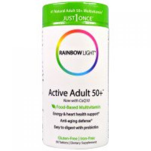 Rainbow Light, Just Once, Active Adult 50+, 식품 기반의 멀티비타민, 90정