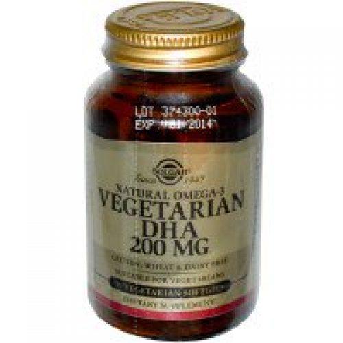 Solgar, 천연 오메가-3, 채식주의자용 DHA, 200 mg, 식물성 소프트젤 50정