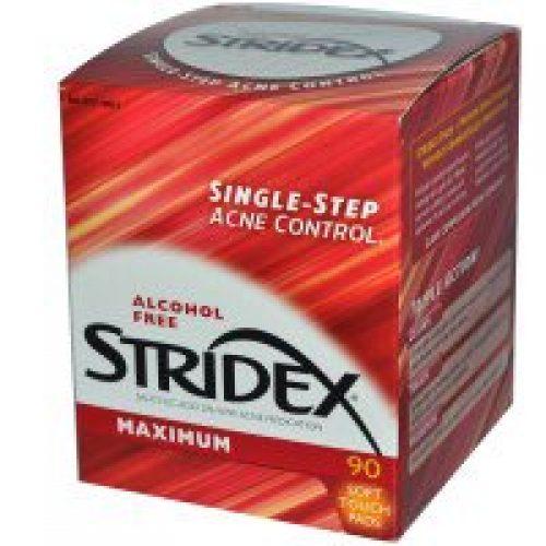 Stridex, 싱글-스텝 여드름 컨트롤, 맥시멈, 무알코올, 90 소프트 터치 패드