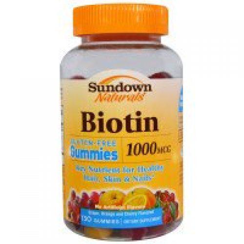 Sundown Naturals, 비오틴, 포도, 오렌지, 체리 맛, 1000 mcg, 130 껌
