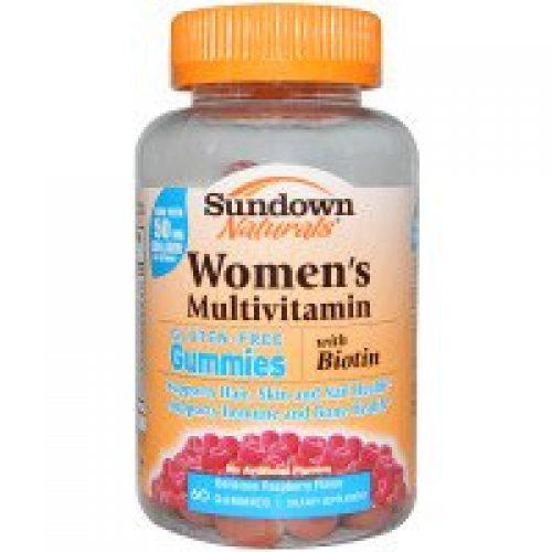 Sundown Naturals, 여성용 멀티비타민, 글루텐 프리, 라즈베리 향, 젤리 60 개