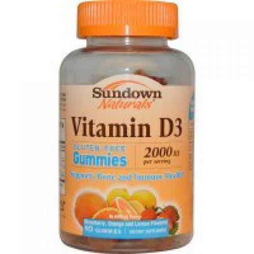 Sundown Naturals, 비타민 D3, 딸기, 오렌지, 레몬 맛, 2000 IU, 젤리 90 개