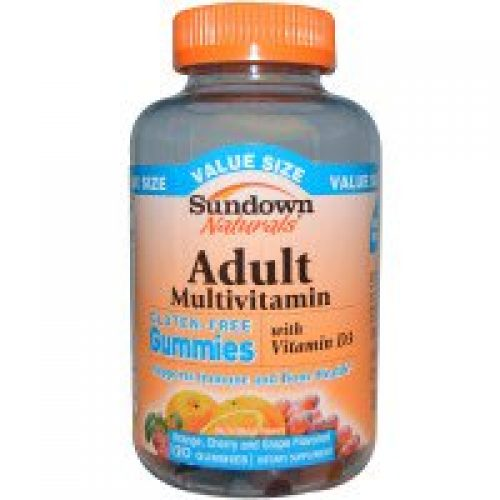 Sundown Naturals, 성인 종합비타민, 오렌지, 체리, 포도 맛, 글루텐 없음, 젤리 형 거미(Gummy) 120개
