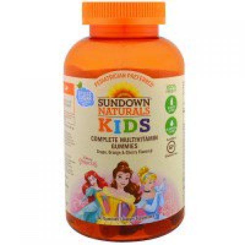 Sundown Naturals Kids, 키즈, 컴플리트 멀티비타민 젤리, 디즈니 프린세스, 포도, 오렌지 & 체리, 180 개