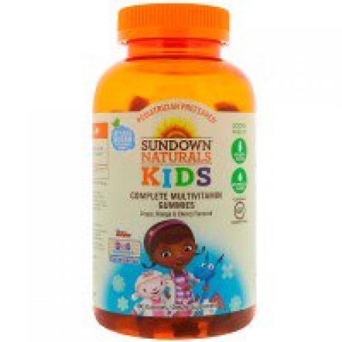 Sundown Naturals Kids, 컴플리트 멀티비타민 거미스, 디즈니 꼬마의사 맥스터핀스, 포도, 오렌지 & 체리 맛, 180 거미스