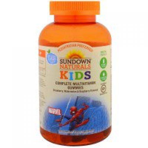 Sundown Naturals Kids, 키즈, 종합 비타민 거미, 마블 스파이더맨, 딸기, 수박 & 라즈베리 맛, 180 정