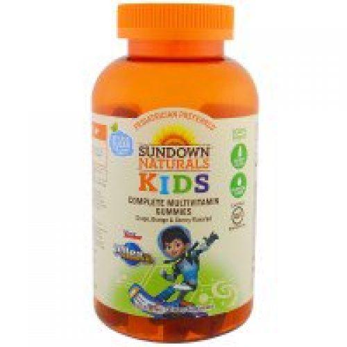 Sundown Naturals Kids, 청소년, 완전 멀티비타민 거미, 투마로우랜드로부터 멀리 떨어진, 포도, 유기농 체리, 180 거미
