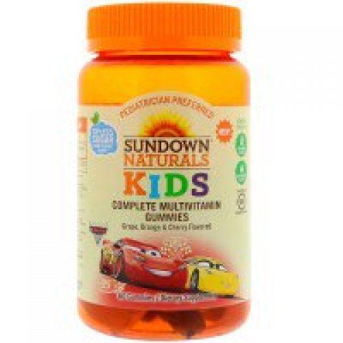 Sundown Naturals Kids, 컴플리트 멀티비타민 거미스, 디즈니 카 3, 포도, 오렌지 & 체리 맛, 60 거미스