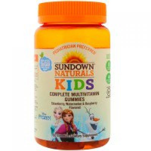 Sundown Naturals Kids, 컴플리트 멀티비타민 거미스, 디즈니 겨울왕국, 딸기, 수박 & 라즈베리 맛, 60 거미스