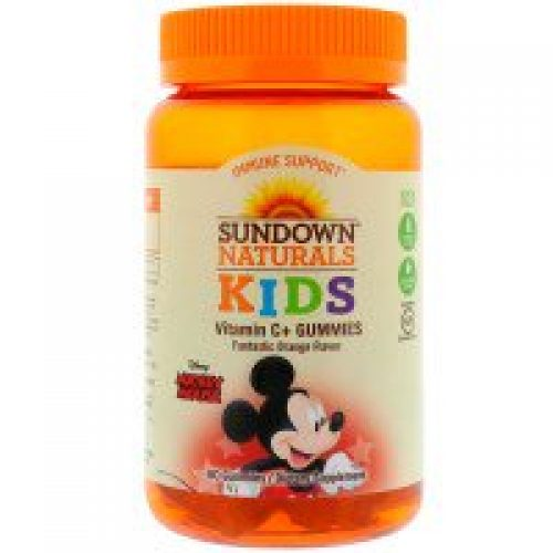 Sundown Naturals Kids, 비타민 C+ 거미스, 디즈니 미키 마우스, 환상적인 오렌지 맛, 60 거미스
