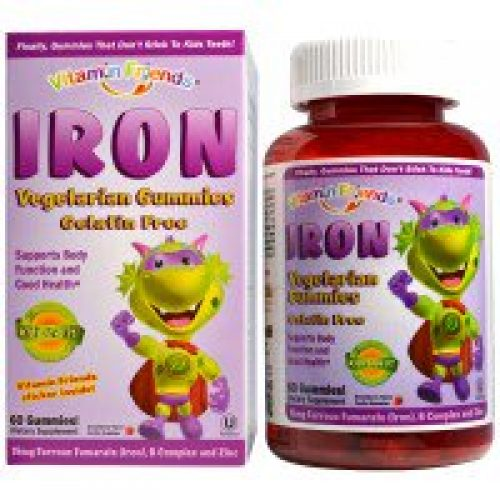 Vitamin Friends, 아이론베어 거미즈, 스트로베리, 15 밀리리터, 60 펙틴 베어즈