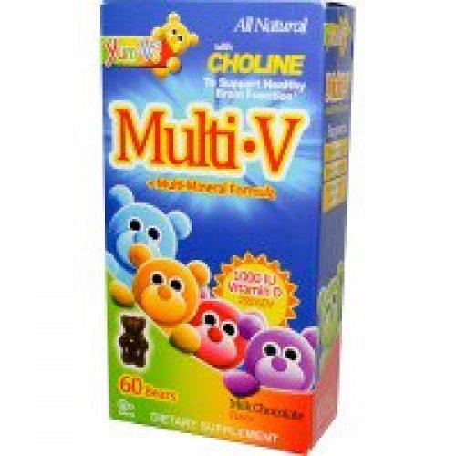 Yum-V's, 멀티·V + 멀티-미네랄 포뮬러, 밀크 초콜릿 맛, 젤리 60 개