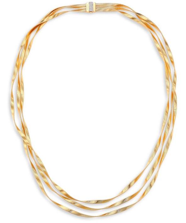 Marco Bicego 마라케치 다이아몬드, 18K 옐로우 & 화이트 골드 목걸이