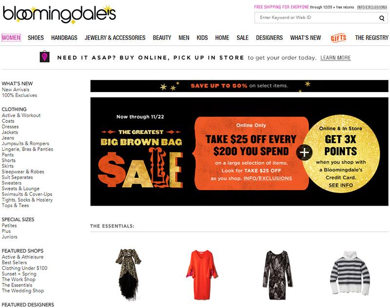 브루밍데일스 온라인 $25불 할인 Bloomingdale's $25 off
