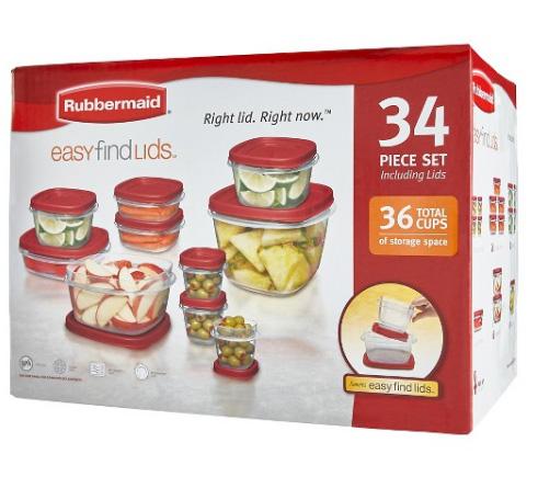Rubbermaid Food Storage Container Set 34pc $24.99 블랙프라이데이 $7.99